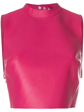 Shop pink Manokhi sleeveless crop top farfetch