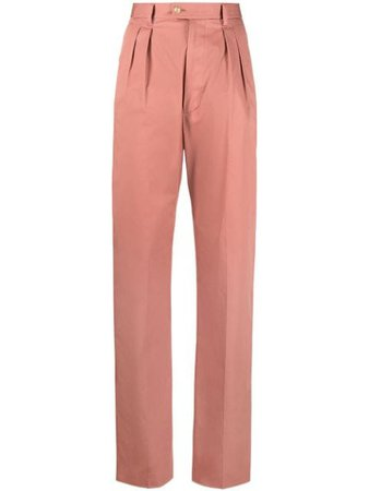 Shop pink Etro high-waist straight trousers with Express Delivery - Farfetch