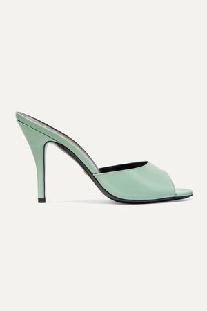 Mint Scarlet glossed-leather mules   Gucci   NET-A-PORTER