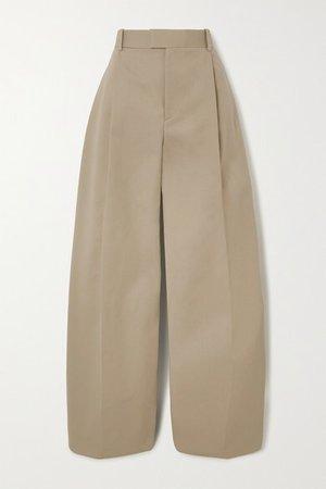 Cotton Wide-leg Pants - Beige