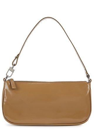 BY FAR Rachel brown patent leather shoulder bag - Harvey Nichols