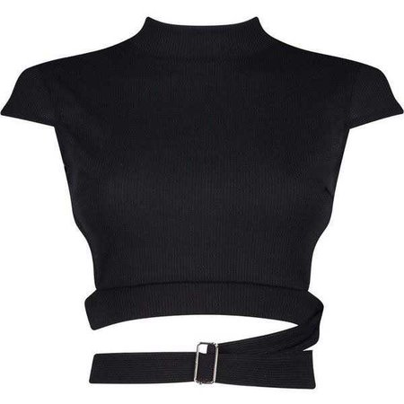 Black Turtleneck Crop Top With Buckle