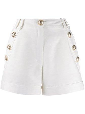 White Balmain Button-embellished Tailored Shorts   Farfetch.com