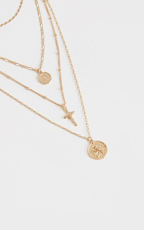 Gold Cross And Cherub Layering Necklace | PrettyLittleThing USA