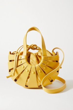 The Shell Leather Shoulder Bag - Yellow
