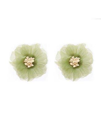 Green tulle flower earrings Jewelry