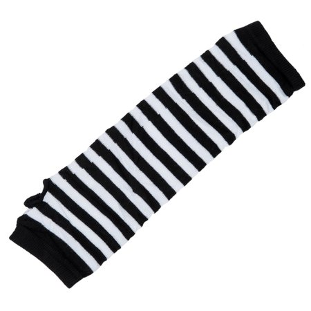 Hot Stylish Winter Warm Black White Striped Long Fingerless Gloves-in Women's Gloves from Apparel Accessories