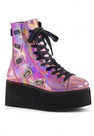 Demonia Pink Hologram GRIP-103 Razor Ankle Boots   Festival Fashion Footwear