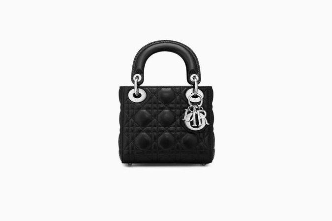 Mini sac Lady Dior avec chaîne en agneau noir - Dior