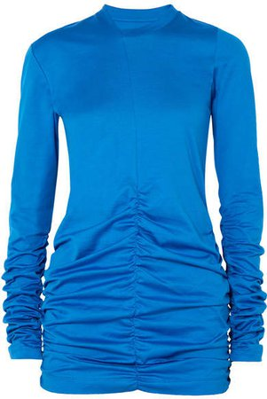 Marques' Almeida - Ruched Cotton-jersey Top - Cobalt blue