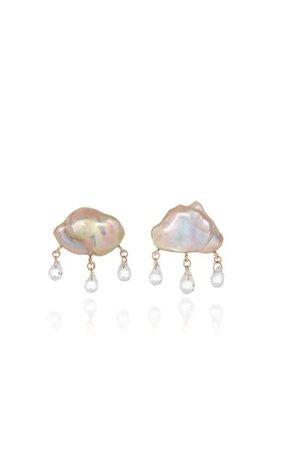 Rainy Day 14k Yellow Gold Pearl, Topaz Earrings By Rachel Quinn | Moda Operandi