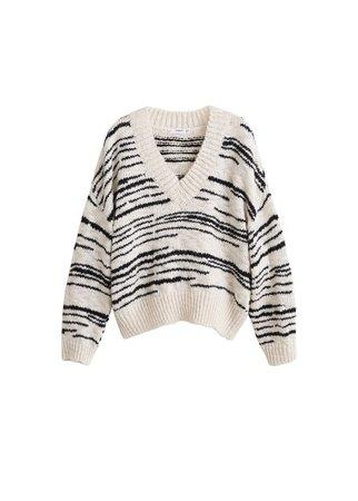 MANGO Contrasting knit sweater