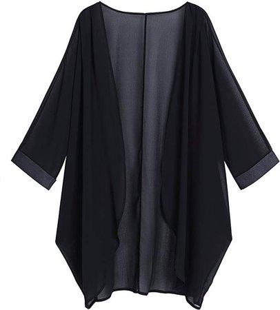 OLRAIN Women's Floral Print Sheer Chiffon Loose Kimono Cardigan Capes (X-Large, Black-1) at Amazon Women's Clothing store