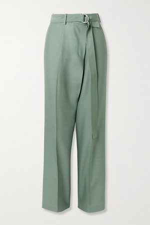 Gray green Belted asymmetric wool and silk-blend straight-leg pants | Helmut Lang | NET-A-PORTER