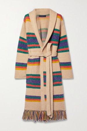 Pier Fringed Striped Belted Cashmere Cardigan - Beige