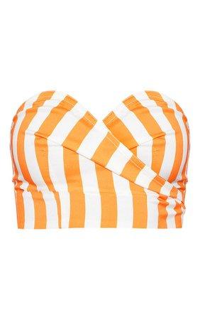 Bright Orange Stripe Print Bandeau Crop Top | PrettyLittleThing