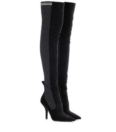 Rockoko velvet over-the-knee boots