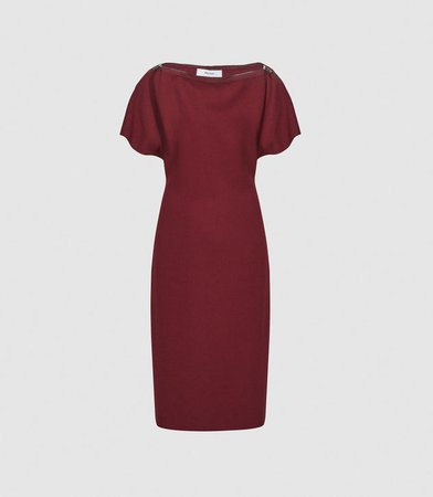 Josie Berry Zip-Detail Bodycon Dress – REISS