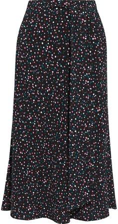 Lesley Belted Printed Crepe Midi Skirt