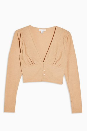 Camel Long Sleeve Button Cardigan | Topshop