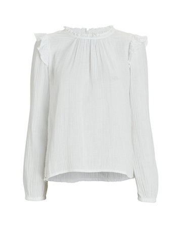 XíRENA Lanie Ruffled Cotton Blouse | INTERMIX®