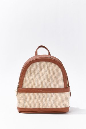 Faux Leather Straw Mini Backpack | Forever 21