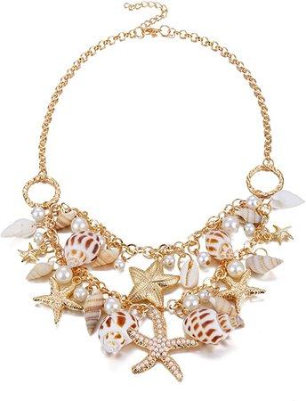 Amazon.com: Shell Necklace Choker Mermaid Tail Necklace - Fashion Sea Shell Starfish Faux Pearl Collar Bib Statement Chunky Necklace Pendant: Clothing