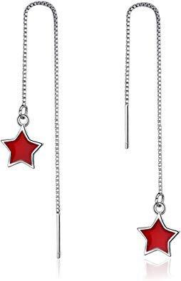 Bishilin Ear Cuffs Dangle Chain Earrings Long Pendant Red Star Silver Earrings Women's Pull Through: Amazon.co.uk: Jewellery