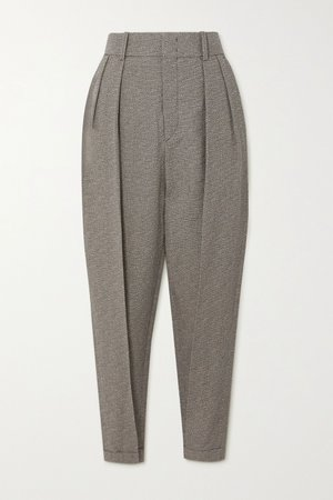 Gray Oceyo pleated woven tapered pants | Isabel Marant | NET-A-PORTER