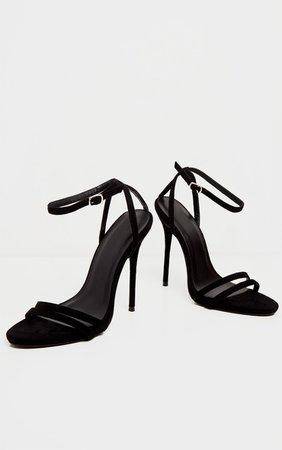 Black High Strappy Sandal | PrettyLittleThing