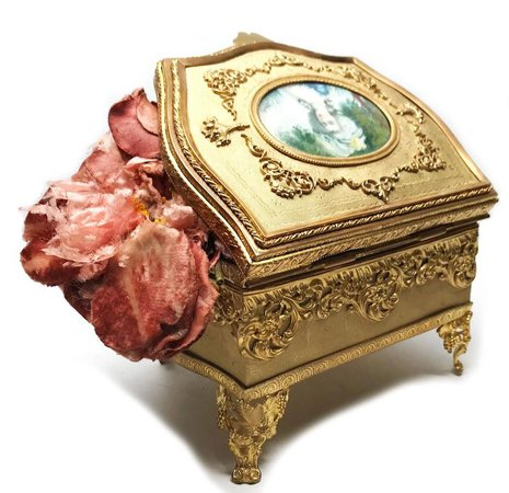 LARGE Napoleon III Gilded Bronze/Brass Boudoir Casket with Hand : Paris Chateau | Ruby Lane