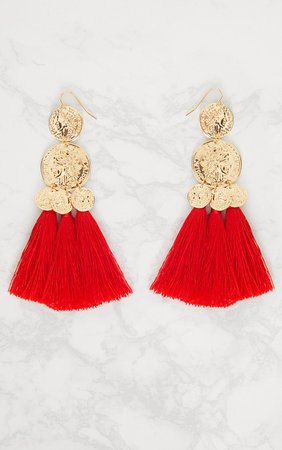 Red Coin Drop Tassel Earrings | Accessories | PrettyLittleThing USA