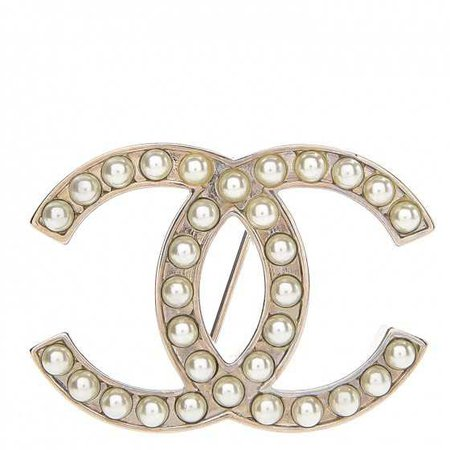 CHANEL Pearl CC Brooch Pin Silver 252742