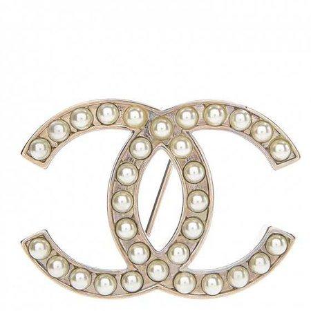 CHANEL Pearl CC Brooch Pin Silver 252742