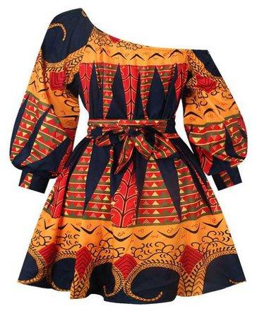 African Print Off the Shoulder Dress