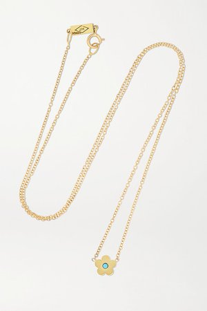 Jennifer Meyer | Mini Daisy 18-karat gold turquoise necklace | NET-A-PORTER.COM