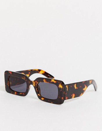 Pieces square sunglasses in brown tortoiseshell | ASOS
