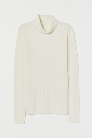 Rib-knit Turtleneck Sweater - Natural white - Ladies | H&M CA