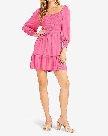 Bb Dakota Smocked Balloon Sleeve Mini Dress