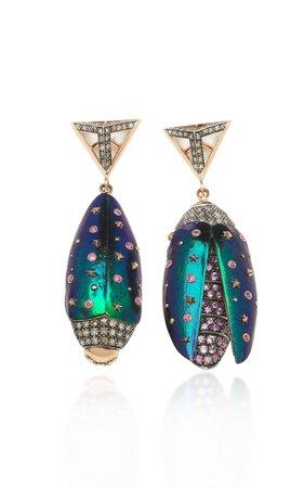 Scarab 18k Rose Gold, Sterling Silver Multi-Stone Earrings By Bibi Van Der Velden | Moda Operandi