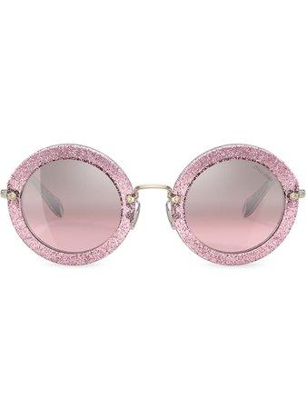 Miu Miu Eyewear Round Glitter Sunglasses - Farfetch