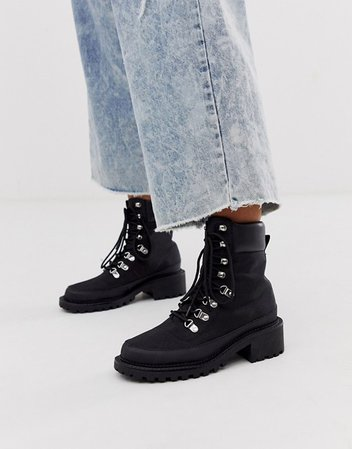 ASOS DESIGN Alix hiker boots in black | ASOS