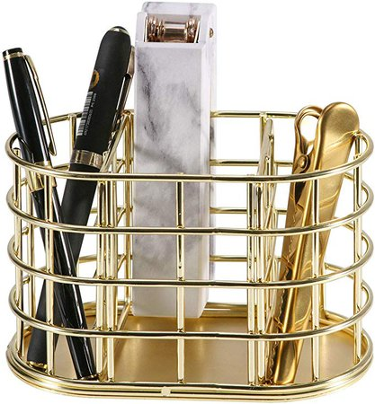 Amazon.com : Pen Holder, Nugorise 3 Compartment Metal Pencil Holder Stationery Organizer, Decorative Desktop Storage Holder for Office Supplies, Gold : Office Products