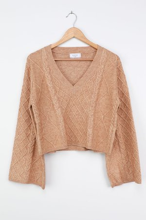 Sage the Label Nico - Cable Knit Sweater - Beige Pullover Sweater - Lulus