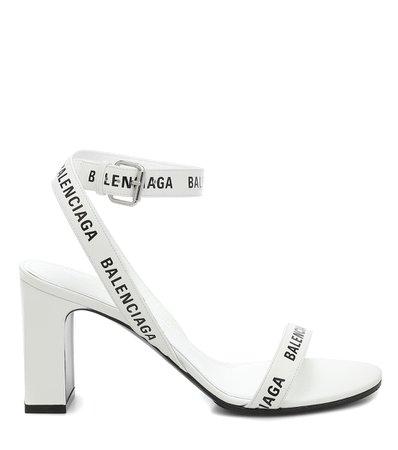 Balenciaga - Logo leather sandals | Mytheresa