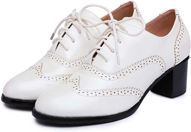 Amazon.com | Odema Womens pu Leather Oxfords Brogue Wingtip Lace Up Dress Shoes High Heels Pumps Oxfords Black | Oxfords