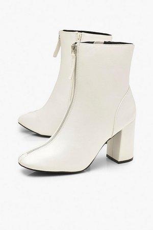 Zip Front Block Heel Shoe Boots | Boohoo white