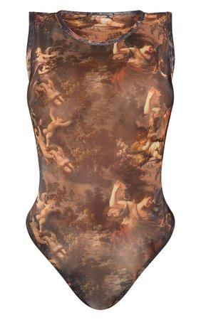 Shape Brown Renaissance Print Sheer Bodysuit   PrettyLittleThing USA