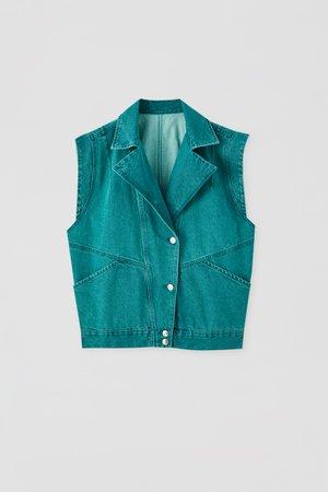 '80s green denim vest - pull&bear