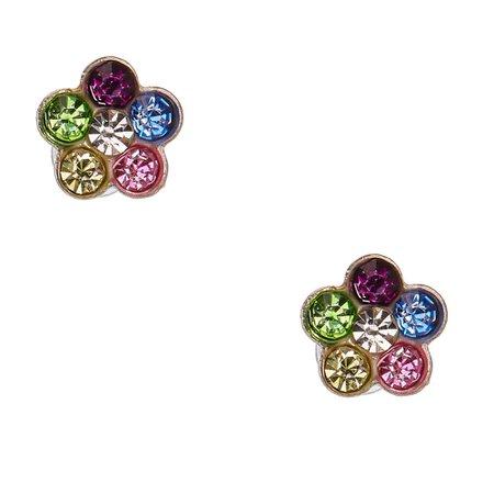 Pastel Rainbow Crystal Daisy Magnetic Stud Earrings